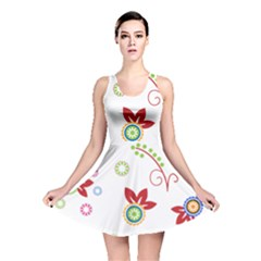 Colorful Floral Wallpaper Background Pattern Reversible Skater Dress