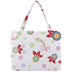 Colorful Floral Wallpaper Background Pattern Mini Tote Bag