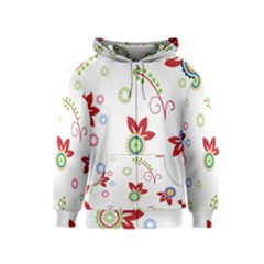 Colorful Floral Wallpaper Background Pattern Kids  Zipper Hoodie
