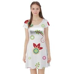 Colorful Floral Wallpaper Background Pattern Short Sleeve Skater Dress