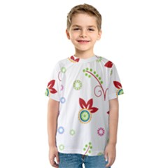 Colorful Floral Wallpaper Background Pattern Kids  Sport Mesh Tee