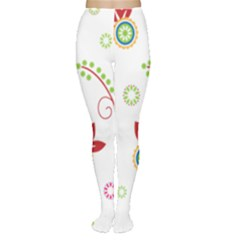 Colorful Floral Wallpaper Background Pattern Women s Tights