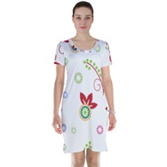 Colorful Floral Wallpaper Background Pattern Short Sleeve Nightdress