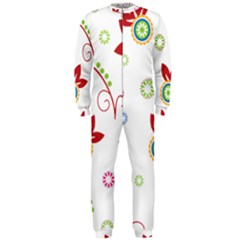 Colorful Floral Wallpaper Background Pattern Onepiece Jumpsuit (men)
