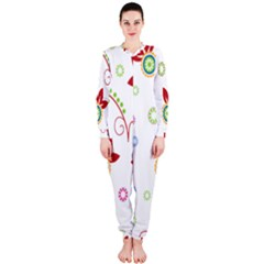 Colorful Floral Wallpaper Background Pattern OnePiece Jumpsuit (Ladies)