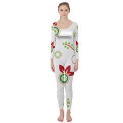 Colorful Floral Wallpaper Background Pattern Long Sleeve Catsuit