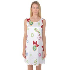 Colorful Floral Wallpaper Background Pattern Sleeveless Satin Nightdress