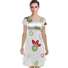 Colorful Floral Wallpaper Background Pattern Cap Sleeve Nightdress