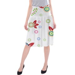 Colorful Floral Wallpaper Background Pattern Midi Beach Skirt