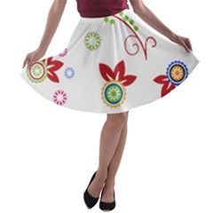 Colorful Floral Wallpaper Background Pattern A Line Skater Skirt