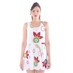 Colorful Floral Wallpaper Background Pattern Scoop Neck Skater Dress