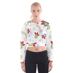 Colorful Floral Wallpaper Background Pattern Women s Cropped Sweatshirt