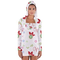 Colorful Floral Wallpaper Background Pattern Women s Long Sleeve Hooded T Shirt