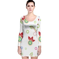 Colorful Floral Wallpaper Background Pattern Long Sleeve Velvet Bodycon Dress
