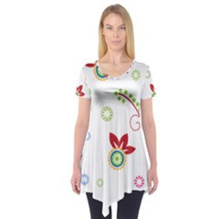 Colorful Floral Wallpaper Background Pattern Short Sleeve Tunic