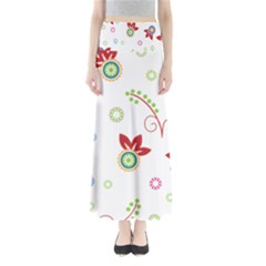 Colorful Floral Wallpaper Background Pattern Maxi Skirts