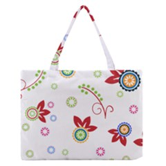 Colorful Floral Wallpaper Background Pattern Medium Zipper Tote Bag
