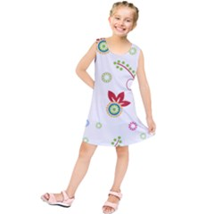 Colorful Floral Wallpaper Background Pattern Kids  Tunic Dress