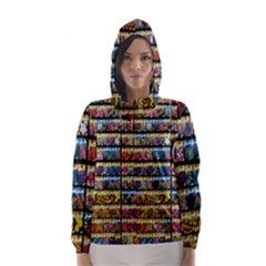 Flower Seeds For Sale At Garden Center Pattern Hooded Wind Breaker (women)