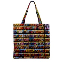 Flower Seeds For Sale At Garden Center Pattern Zipper Grocery Tote Bag