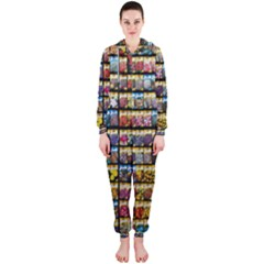 Flower Seeds For Sale At Garden Center Pattern Hooded Jumpsuit (ladies)