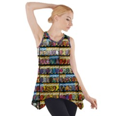 Flower Seeds For Sale At Garden Center Pattern Side Drop Tank Tunic