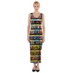 Flower Seeds For Sale At Garden Center Pattern Fitted Maxi Dress