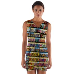 Flower Seeds For Sale At Garden Center Pattern Wrap Front Bodycon Dress