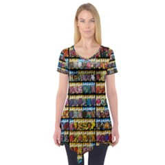 Flower Seeds For Sale At Garden Center Pattern Short Sleeve Tunic