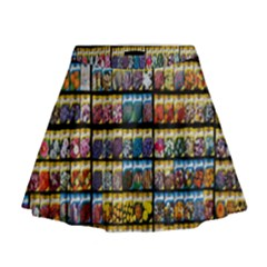 Flower Seeds For Sale At Garden Center Pattern Mini Flare Skirt