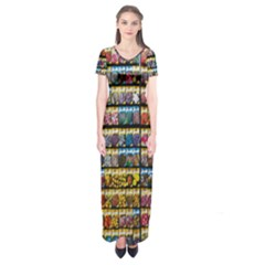 Flower Seeds For Sale At Garden Center Pattern Short Sleeve Maxi Dress