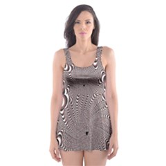 Digital Fractal Pattern Skater Dress Swimsuit