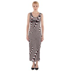 Digital Fractal Pattern Fitted Maxi Dress