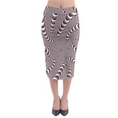 Digital Fractal Pattern Midi Pencil Skirt