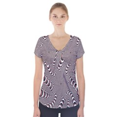 Digital Fractal Pattern Short Sleeve Front Detail Top