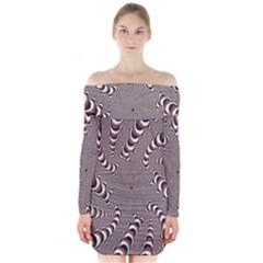 Digital Fractal Pattern Long Sleeve Off Shoulder Dress