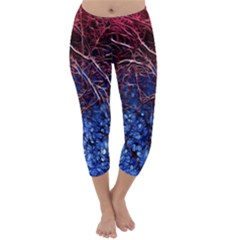 Autumn Fractal Forest Background Capri Winter Leggings