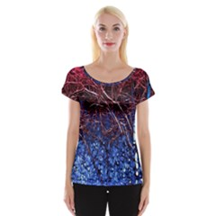 Autumn Fractal Forest Background Women s Cap Sleeve Top
