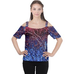 Autumn Fractal Forest Background Women s Cutout Shoulder Tee