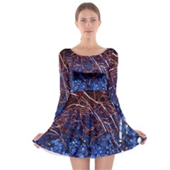 Autumn Fractal Forest Background Long Sleeve Skater Dress