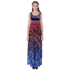Autumn Fractal Forest Background Empire Waist Maxi Dress