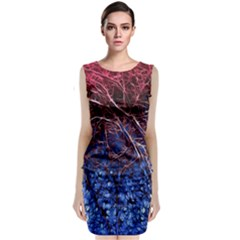 Autumn Fractal Forest Background Classic Sleeveless Midi Dress