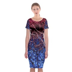 Autumn Fractal Forest Background Classic Short Sleeve Midi Dress