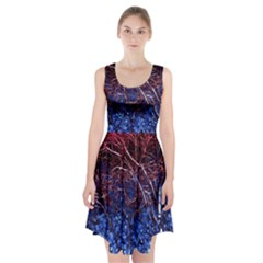 Autumn Fractal Forest Background Racerback Midi Dress