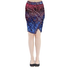 Autumn Fractal Forest Background Midi Wrap Pencil Skirt