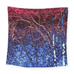 Autumn Fractal Forest Background Square Tapestry (large)