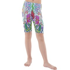 Wallpaper Created From Coloring Book Kids  Mid Length Swim Shorts