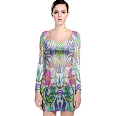 Wallpaper Created From Coloring Book Long Sleeve Bodycon Dress