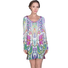 Wallpaper Created From Coloring Book Long Sleeve Nightdress