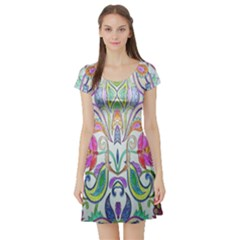 Wallpaper Created From Coloring Book Short Sleeve Skater Dress